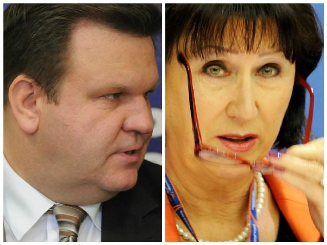 Poseł SLD Bogusław Wontor i posłanka PO Bożenna Bukiewicz.