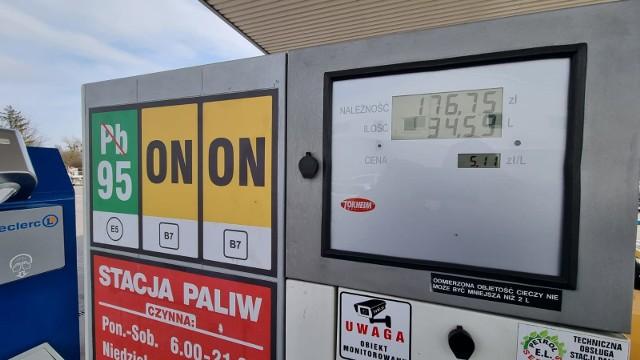 5,11 złotego kosztuje litr benzyny Pb95 na stacji Leclerc w Słupsku