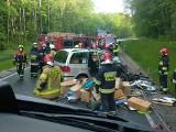 Pomorskie: Wypadek na DW 222 w Trąbkach Wielkich. Zderzenie dwóch samochodów [24.05.2020. Dwie osoby poszkodowane. Na miejscu śmigłowiec LPR