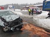 Wypadek na drodze krajowej nr 7 w Leźnie 19.02.2021 r. Droga już odblokowana
