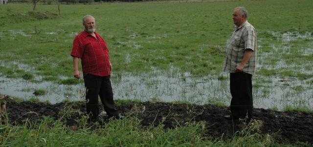 Tak wyglądają łąki rolników z gminy Krzeszyce. - Krowy grzęzną w błocie i chorują na nogi. - mówi Waldemar Fedyszyn (z prawej), choć do śmiechu mu nie jest. Z lewej Julian Jawny.