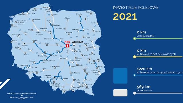 Program Kolejowy CPK zakłada budowę prawie 1800 km nowych linii - etap inwestycji na 2021 r.