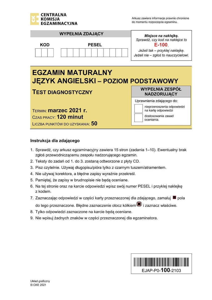 Strona tytułowa arkusza matury próbnej 2021 z języka...