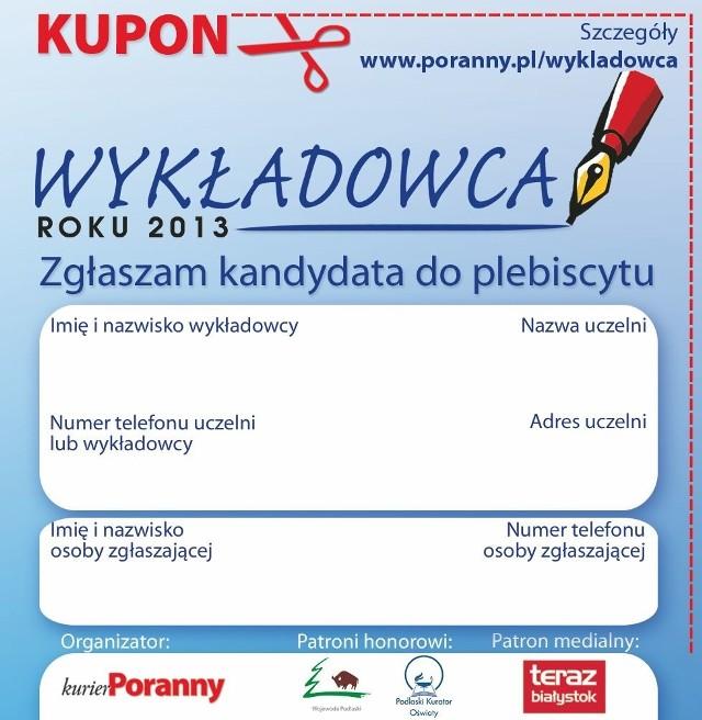 """Kupon zgłoszeniowy do plebiscytu """"Wykładowca Roku 2013"""""""