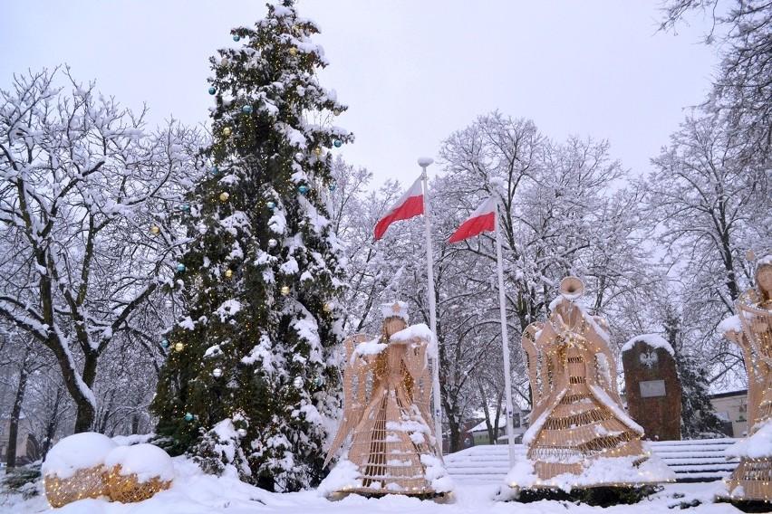 Wiklinowe rzeźby w Rudniku nad Sanem pokryte śniegiem, a w centrum wikliniarstwa prezenty z wikliny [ZDJĘCIA]