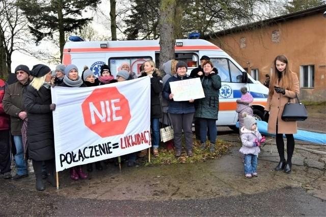 Protest w Sławnie przeciwko połączeniu szpitali, 7.12