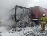 W Pokrzywnie pod Grudziądzem spłonął samochód ciężarowy [zdjęcia]