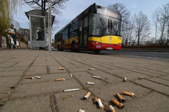 """Wrocław: wokół przystanków na trawnikach """"rosną""""... pety z papierosów"""