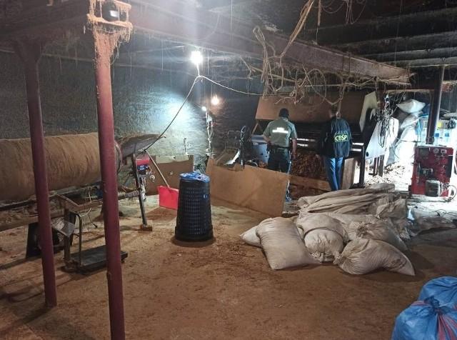 W wyniku przeszukania pomieszczeń ujawniono łącznie 2,5 tony tytoniu krojonego i liści tytoniu oraz krajalnicę do liści tytoniu i suszarki do suszenia liści tytoniu