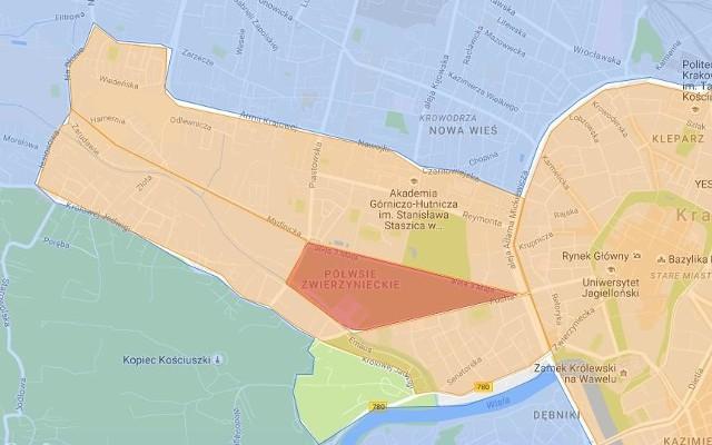 Kolor czerwony obszary zamknięteObszar Zamknięty BłoniaUlice graniczne obszaru: 3 Maja, Piastowska, Focha.UPRAWNIENI DO WJAZDU:- mieszkańcy tego obszaru- pojazdy zaopatrzenia 00:00 – 10:00- oznakowane pojazdy służb specjalnych i medycznych- KMK, komunikacja zbiorowa, taxi – w godz. funkcjonowania KMK- pojazdy z zezwoleniami zarządu drogi- pojazdy osób niepełnosprawnych zgodnie z obowiązującym oznakowaniem- goście hotelowi z rezerwacją i miejscem parkingowym poza pasem drogowymObszar Zamknięty ŁagiewnikiUlice graniczne obszaru: Tischnera, Zakopiańska, Jugowicka, Podmokła, Herberta, Turowicza (do Tischnera) UPRAWNIENI DO WJAZDU:- mieszkańcy tego obszaru- pojazdy zaopatrzenia 00:00 – 10:00- oznakowane pojazdy służb specjalnych i medycznych- KMK, komunikacja zbiorowa, taxi – w godz. funkcjonowania KMK- pojazdy z zezwoleniami zarządu drogi- pojazdy osób niepełnosprawnych z obowiązującym oznakowaniem- goście hotelowi z rezerwacją i miejscem parkingowym poza pasem drogowym- dojazd do CH Zakopianka i firm w obszarze (Zakopiańska, Marcika, Połomskiego (Biedronka)), dojazd do stacji paliw przy Fredry________________________Kolor pomarańczowyObszar ograniczeń w ruchu - Strefa 1ULICE:Armii Krajowej, Nawojki, Czarnowiejska, Aleja Słowackiego do Wita Stwosza, Lubomirskiego, Rondo Mogilskie, Powstania Warszawskiego, Rondo Grzegórzeckie, Grzegórzecka, Dietla do Starowiślnej, Starowiślna, Na Zjeździe, Limanowskiego, Powstańców Śląskich, Kamieńskiego, Konopnickiej, most Dębnicki, rzeka Wisła, most Zwierzyniecki, (zamknięta Malczewskiego i Zaścianek), Królowej Jadwigi, Jesionowa, Na Błonie, ZarzeczeUPRAWNIENI DO WJAZDU:mieszkańcy obszaru: Błonia, Łagiewniki, I pojazdy zaopatrzenia i dojeżdżające do parkingów 00:00–10:00oznakowane pojazdy służb specjalnych, medycznych i technicznychpojazdy dojeżdżające do szpitalioznakowane pojazdy CC i CDautokary z identyfikatorem ŚDMKMK, komunikacja zbiorowa, taxi – w godz. funkcjonowania KMKpojazdy z zezwoleniami zarządu drogipojazdy osób niepełnosp