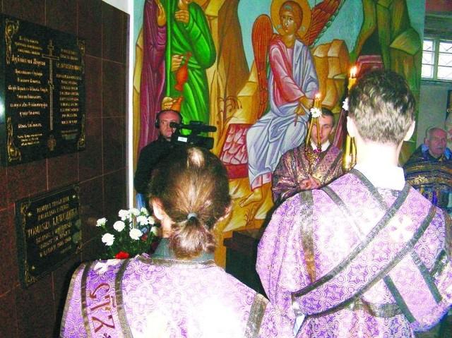 Pamiątkową tablicę poświęconą arcybiskupowi hajnowskiemu Mironowi odsłonięto w dolnej cerkwi soboru Świętej Trójcy