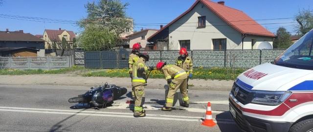 Wypadek motocyklisty na ul. Bielskiej w Hajnówce