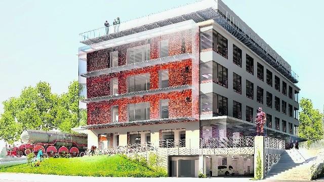 Tak będzie wyglądał biurowiec Głęboczka - Stacja Biznesu przy ulicy Zagnańskiej w Kielcach, z budową którego Dorbud ruszy na wiosnę, a zakończenie planuje już na koniec tego roku.