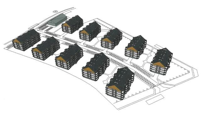 Wizualizacja osiedla domów wielorodzinnych, jaka powstałaby przy ulicy Granicznej w Rozwadowie