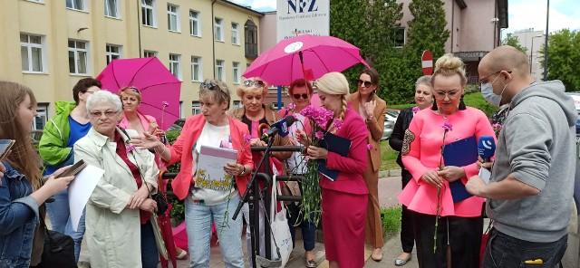 Środowa konferencja prasowa przed lubelskim oddziałem Narodowego Funduszu Zdrowia