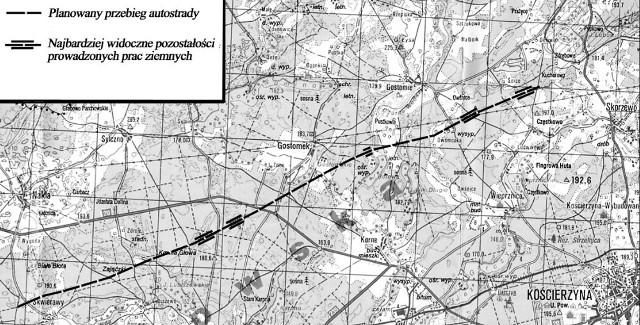 Plan przebiegu autostrady Berlin-Królewiec