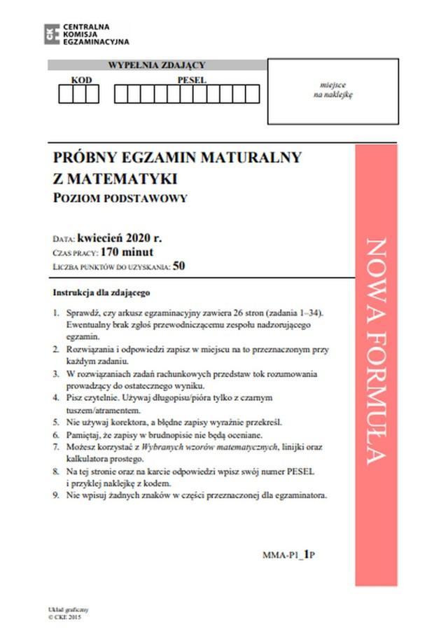 Matura 2020 - matematyka poziom podstawowy ARKUSZE CKE ZADANIA - egzamin próbny.
