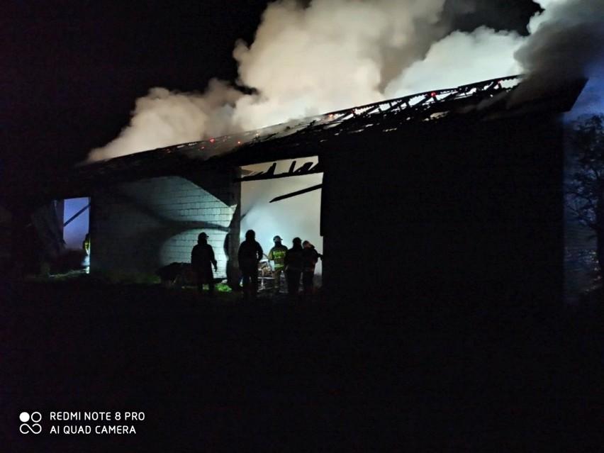 Stodoła stanęła w płomieniach. Strażacy z powiatu radzyńskiego ruszyli na pomoc. Zobacz zdjęcia z akcji