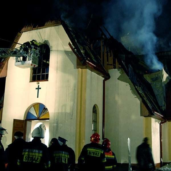 Pozar kościola w Leszczawce