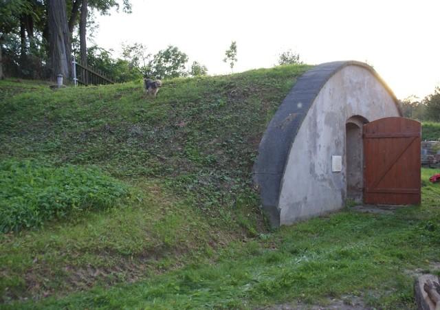 Poniemiecka piwniczka na winoPrzykryta ziemią i porośnięta trawą piwniczka do przechowywania wina stanowi dodatkowy element architektury krajobrazu.