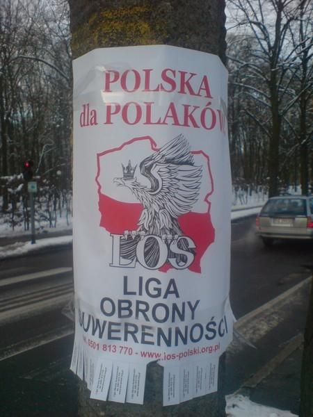 Na jednych plakatach jest hasło: ,,Polska dla Polaków''...