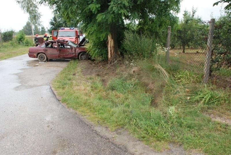 Opel uderzył w drzewo, rannych zostało czterech obywateli Ukrainy.