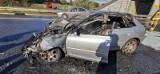 Wypadek na autostradzie A1 pod Grudziądzem. Jeden z pojazdów spłonął