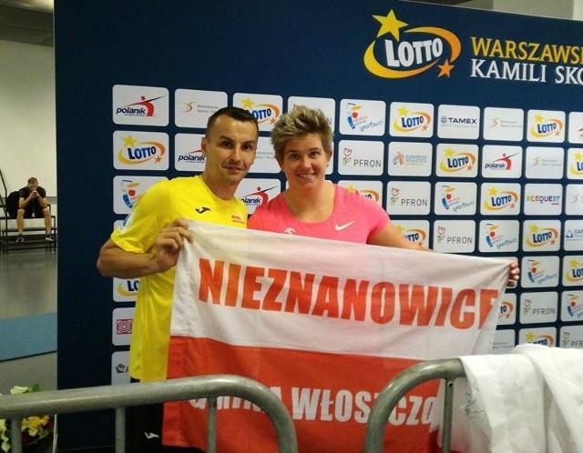 Michał Szafrański z Nieznanowic z kilkukrotną mistrzynią świata Anitą Włodarczyk.