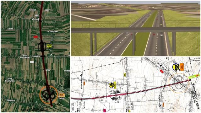 Wizualizacje, mapy, schematy budowanej drogi ekspresowej S7 w Małopolsce pomiędzy Szczepanowicami i Widomą.