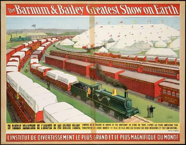 Cztery pociągi złożone z 67 wagonów, a w nich m.in. 12 namiotowych pawilonów, w tym największy zdolny pomieścić 12 tysięcy widzów. Tak 120 lat temu podróżował przez Europę cyrk Barnuma i Baileya. Do Torunia miał zawitać pod koniec lipca 1901 roku