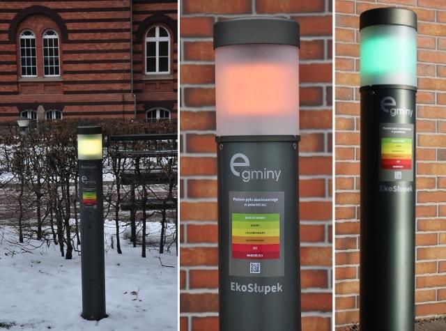 Ekosłupki – dzięki wbudowanemu oświetleniu LED – na bieżąco pokazują wyniki pomiarów, przybierając różne barwy zgodnie z Polskim Indeksem Jakości Powietrza