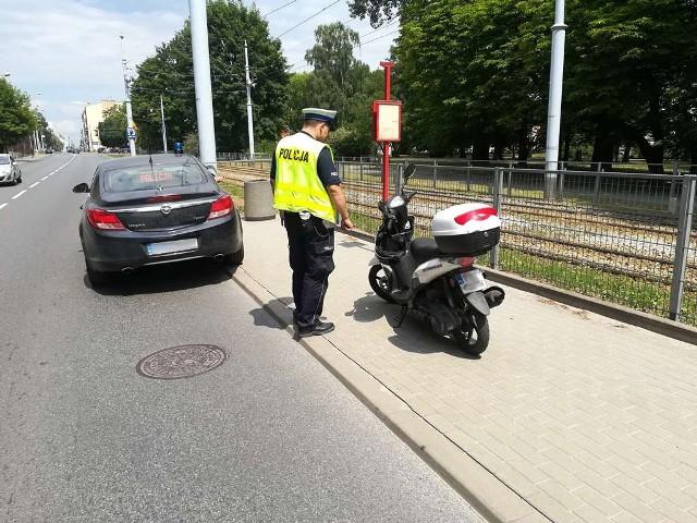 Pijany motocyklista w Łodzi został zatrzymany ulicy Tymienieckiego