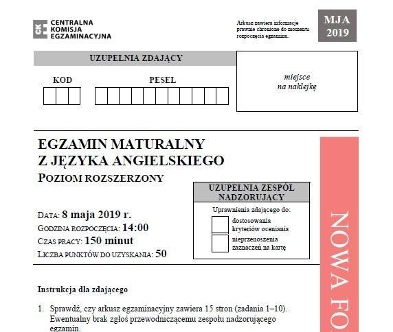 Matura 2019. JĘZYK ANGIELSKI poziom rozszerzony 8.05.2019 odpowiedzi, arkusz CKE. Matura z języka angielskiego (rozszerzenie) - odpowiedzi