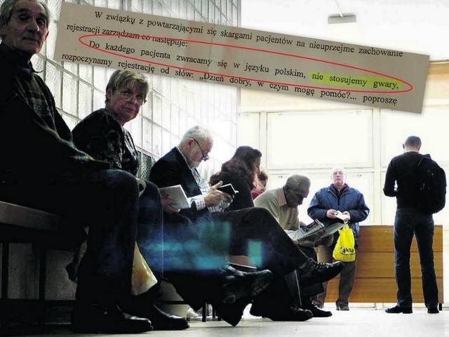 W Przychodni Specjalistycznej w Rudzie Śląskiej obowiązuje zakaz mówienia po śląsku