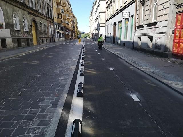 Ścieżka rowerowa na ul. Dworcowej.