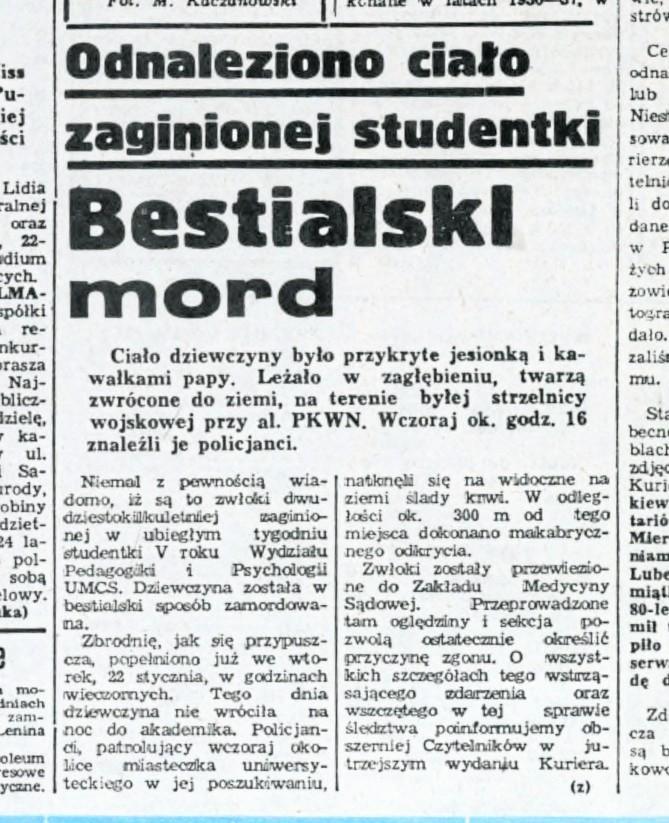 """Makabryczne zabójstwo studentki w Lublinie. Zabójca odgryzł ofierze usta. O zbrodnię oskarżono """"Wampira z Bytowa"""""""