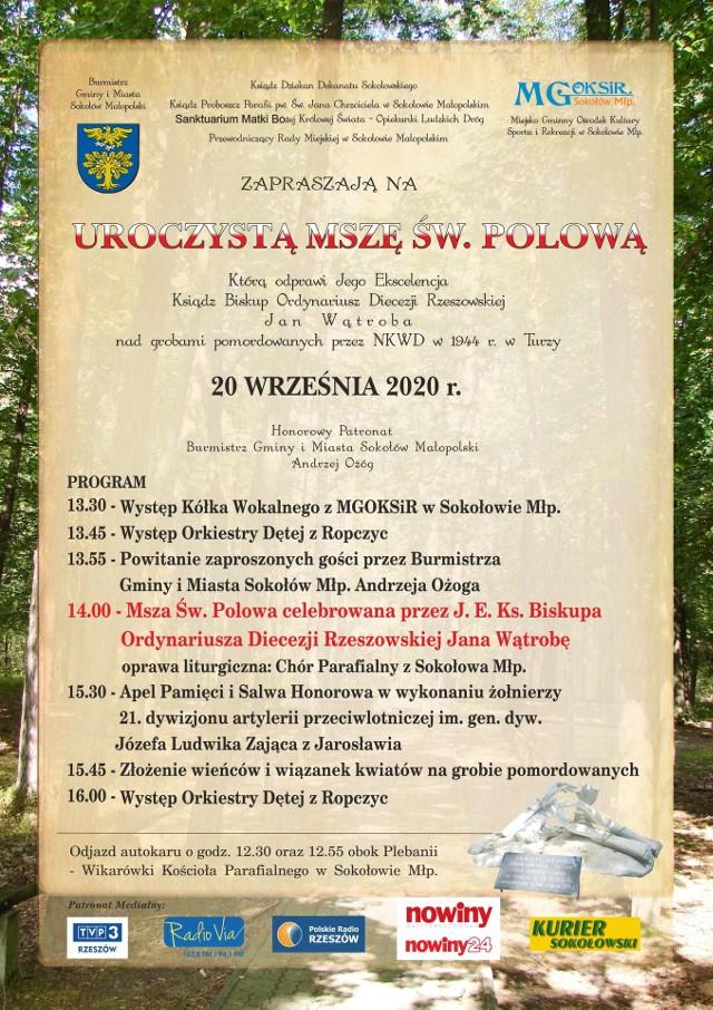 Uroczystą mszę św. polową nad grobami pomordowanych przez NKWD w 1944 r. w Turzy odprawi J. E. ks. bp ordynariusz diecezji rzeszowskiej Jan Wątroba