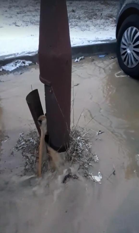 Pękła rura wodociągowa na os. Łużyckim w Świebodzinie