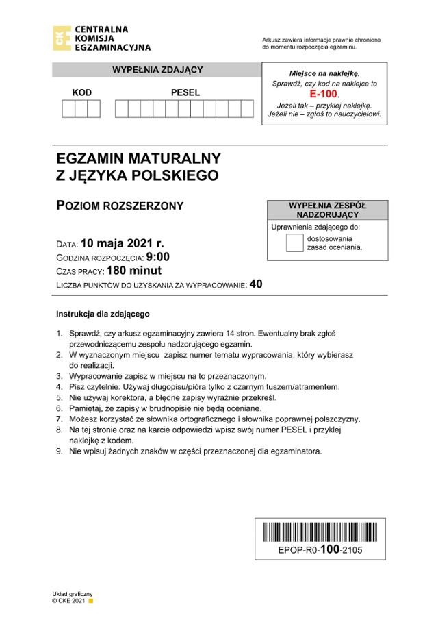 Matura 2021. Polski poziom rozszerzony