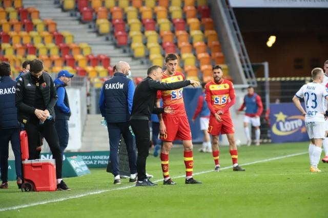Trener Rafał Grzyb był zadowolony z zaangażowania piłkarzy Jagi w meczu z Rakowem