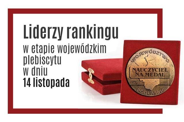 Oto pedagodzy, którzy cieszą się największym uznaniem. W pierwszym etapie głosowania nasi Czytelnicy wytypowali 41 osób, które oprócz nagród otrzymali także awans do finału wojewódzkiego. Poniżej prezentujemy liderów, którzy do 14 listopada do godz. 9 zdobyli najwięcej głosów w akcji Nauczyciel na Medal, którą honorowym patronatem objął  Marszałek Województwa Podlaskiego Jerzy Leszczyński. Dziś liderów pytamy czy spodziewali się takiego wsparcia,  jak zapracowali na swoje wysokie wyniki, jak na ich sukces zareagowali uczniowie i znajomi.  Głosowanie trwa tylko do 24 listopada do godz. 21.59.Więcej na NAUCZYCIEL NA MEDAL - Wielki finał rozpoczęty!