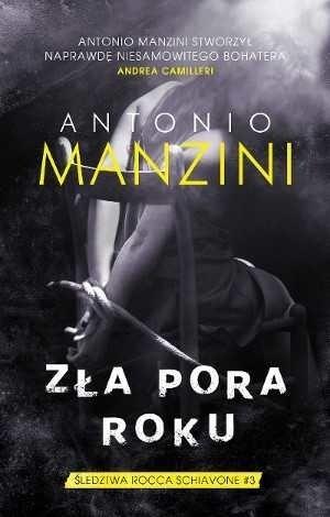 """Antonio Manzini (ur. 1964 w Rzymie), scenarzysta filmów kinowych i seriali telewizyjnych, aktor (m.in. Tytus Andronikus, 1999). Jego pierwszy kryminał z Rocco Schiavonem, """"Czarna trasa"""" z 2013 roku, sprzedał się w 80 000 egzemplarzy; najnowsza powieść z cyklu, """"Era di maggio"""" (2015), rozeszła się do tej pory w ponad 100 000 egzemplarzy we Włoszech i przez kilka miesięcy utrzymywała się w pierwszej dziesiątce bestsellerów czytelniczych. W Polsce nakładem wydawnictwa Muza ukazały się dotychczas dwie pierwsze powieści z serii o komisarzu Schiavone – """"Czarna trasa"""" (2016) i """"Żebro Adama"""" (2017)."""