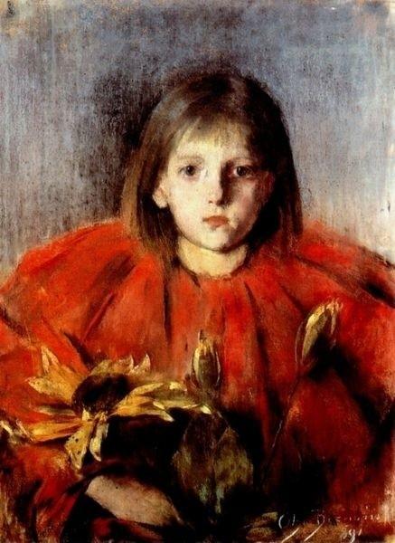 """""""Dziewczynka ze słonecznikami"""" jest bardzo cenna,widnieje na niej podpis autorki - Olgi Boznańskiej"""