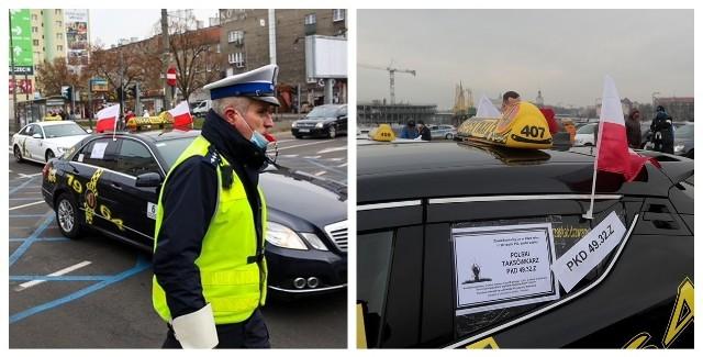 Protest taksówkarzy w Szczecinie - 15.12.2020