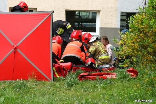 Akcja ratowania chłopca, który wypadł z okna