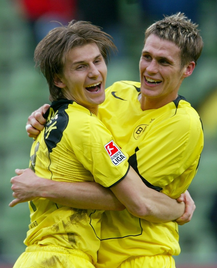 Bohaterzy ostatniej akcji Borussi Dortmund - Euzebiusz Smolarek (z lewej) zanotował asystę przy golu Sebastiana Kehla (z prawej).