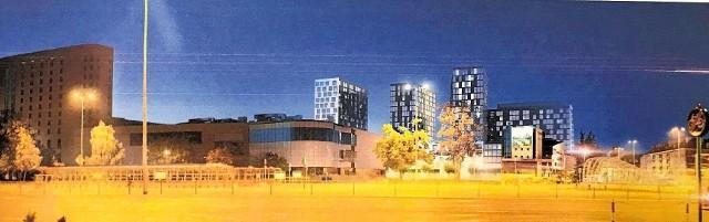 Tak miał wyglądać białostocki Manhattan. 16-piętrowe bloki byłyby wyższe niż hotel Ibis (po lewej). Urbaniści ostudzili te zapędy schodząc do 8 pięter. Projekt wykonał Wojciech Targowski, twórca Europejskiego Centrum Solidarności.