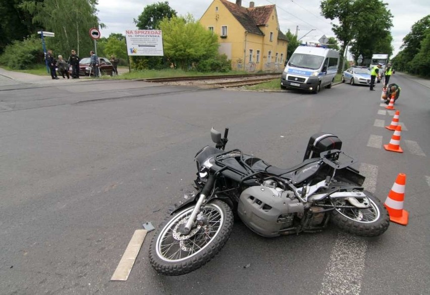 Kraszewskiego: Upadek motocyklisty