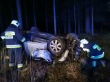 Żednia. Wypadek audi. Samochód osobowy zjechał do rowu i dachował. Kierowca trafił do szpitala [ZDJĘCIA]