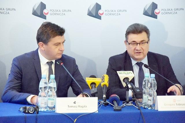 Tomasz Rogala - prezes PGG i Grzegorz Tobiszowski - obecnie europoseł.
